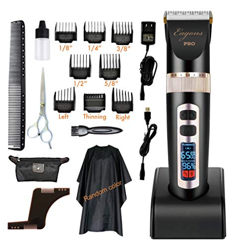 Professional hair clipper, ultra quiet design, 2000mAH Li-ion battery, 3 speed settings, 4 hours cordless runtime, 5 blade position settings, 8 guide combs, plus more in accessory kit, Eagons PRO ()