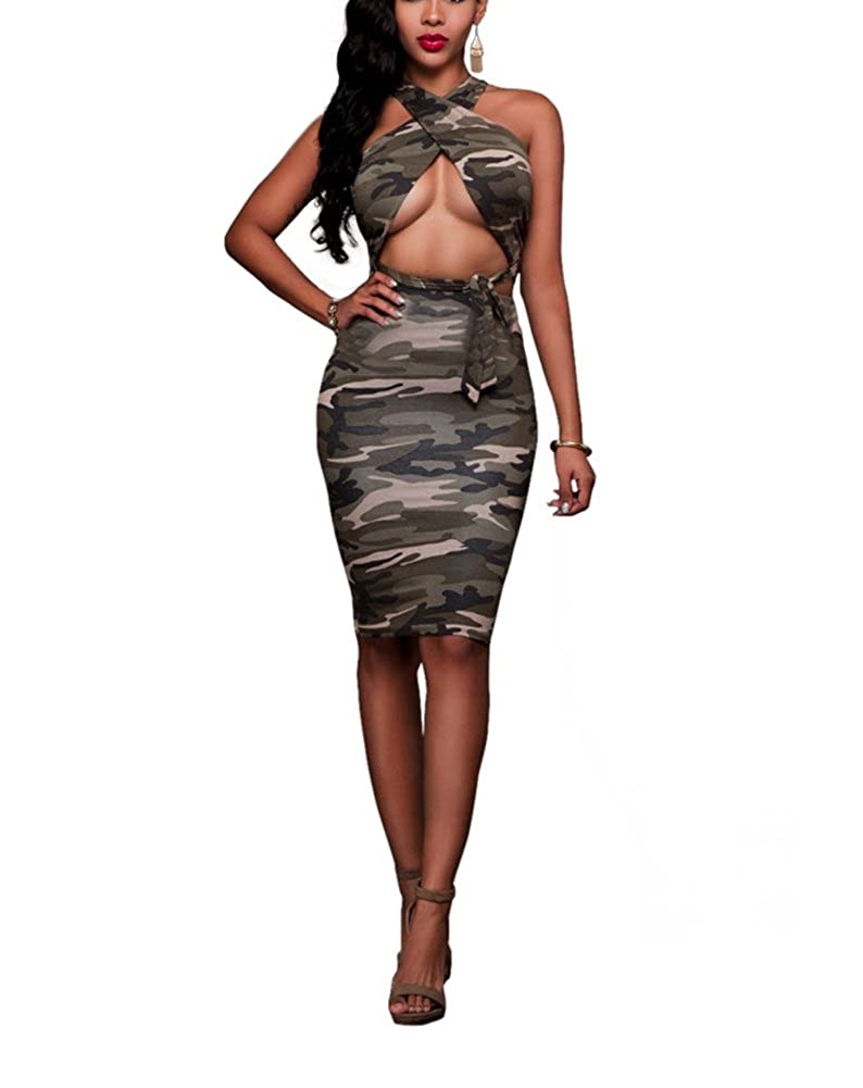 2fcb5d517470 Top9  Women Camo Two Pieces Criss Cross Outfits Top+ Midi Skirt