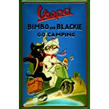 """Vespa Scooter Cats Bimbo and Blackie nostalgic 3D embossed & domed strong Metal Tin Sign 7.87"""" x 11.81"""" Inches"""
