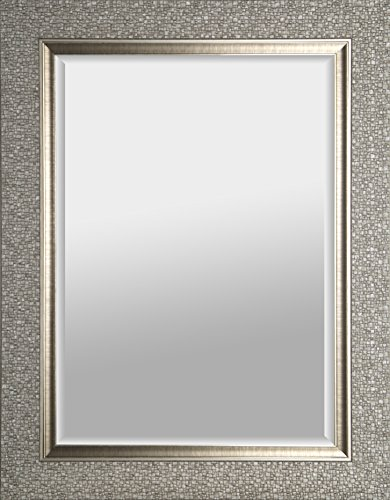 Mirrorize Canada Hexagon Pattern With Silver Gloss Finish Beveled Wall Mirror | Vanity,Hallway,Bathroom, Bedroom |25.25X41.25X1.25|Silver| Rectangle| Large Bevelled Mirror
