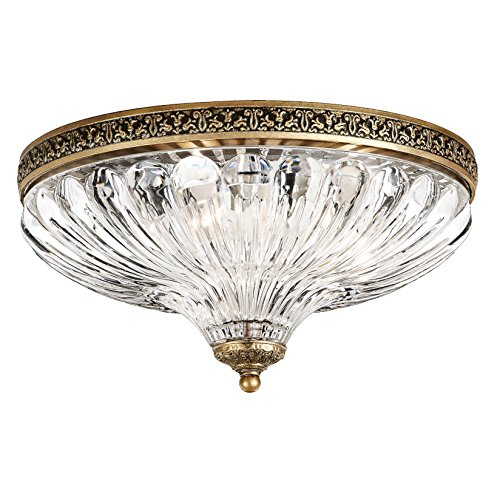 Schonbek 5631-27 Swarovski Lighting Milano Flush Mount Lightening Fixture, Parchment Gold ()