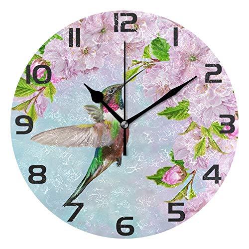 (ALAZA Elegant Bird Hummingbird Round Acrylic Wall Clock, Silent Non Ticking Oil Painting Home Office School Decorative Clock Art)