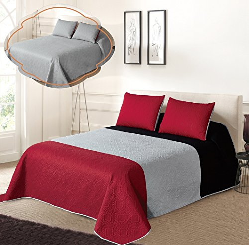 All American Collection New 3pc Solid Three Color Combination Reversible Bedspread Set (KING/ CAL KING, Black/Grey/Red)