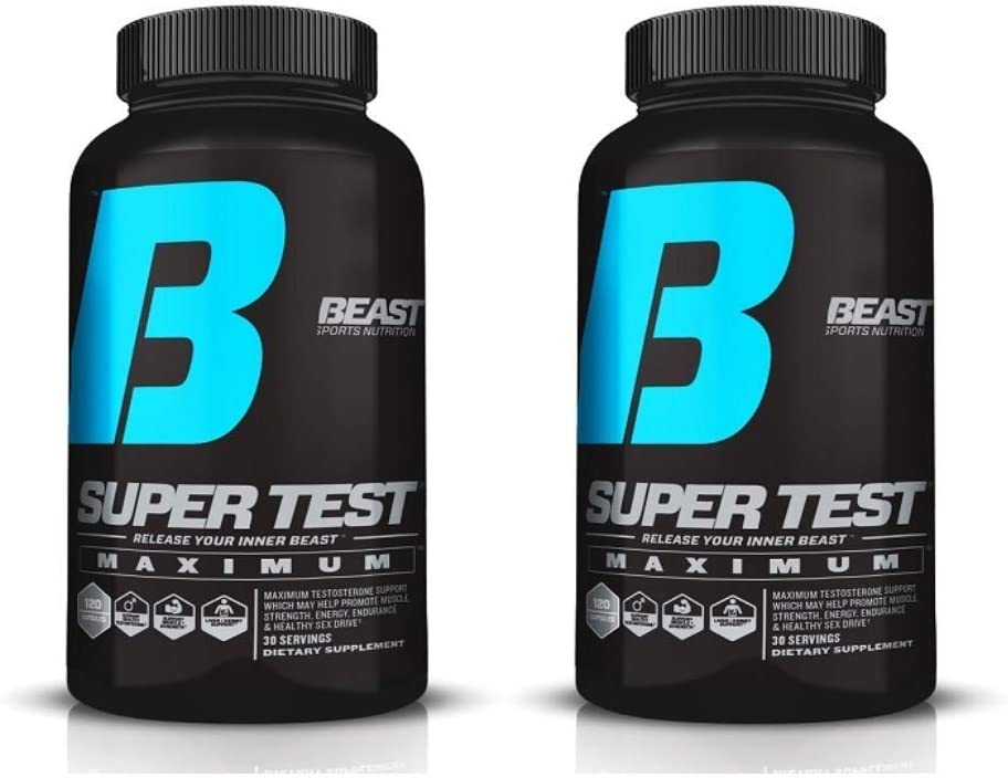 Beast Sports Super Test Maximum 2 Bottles Ultra-Premium All-Inclusive Test Booster – Supports Your Natural Test Levels – Clinical Dosage w KSM-66, Furostan, S7 PrimaVie, 120 Capsules