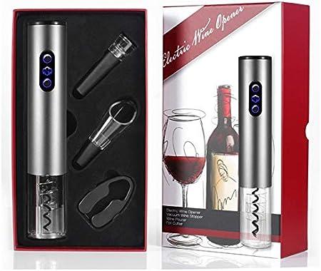 HH- Abrebotellas Abrebotellas Eléctrico, Sacacorchos Profesional, Accesorios para Vino con Tapón de Vacío Y Cable Cargador USB, Pilas no Incluidas (Color : Silver)