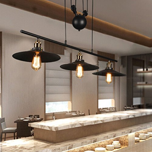 Pool Table Island Light - Traditional Industrial Style 3 Light Pulley Pendant Lighting Fixture Vintage Edison Adjustable Hanging Ceiling Light for Kitchen Island, Pool Table, Farmhouse