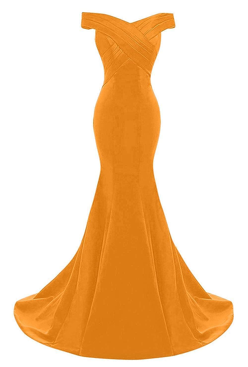 orange Monalia Women's Elegant Mermaid Dress Long Off Shoulder Prom Evening Gown