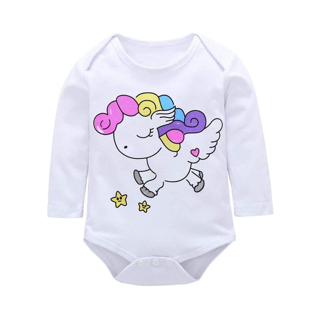Bebé Mono, ASHOP Recién Nacido Bebé Mono Niña Unicornio Impresión Romper Manga Larga Bodies Ropa Casual Jumpsuit + Pantalones + Cap + Venda 0-18 Meses