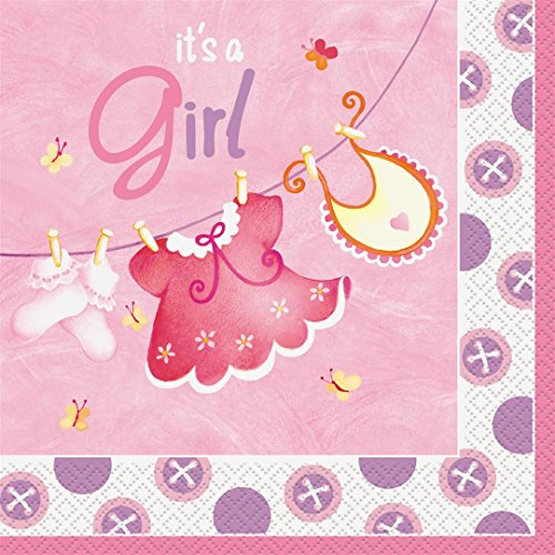 Clothesline Shower Baby (Pink Clothesline Girl Baby Shower Napkins, 16ct)