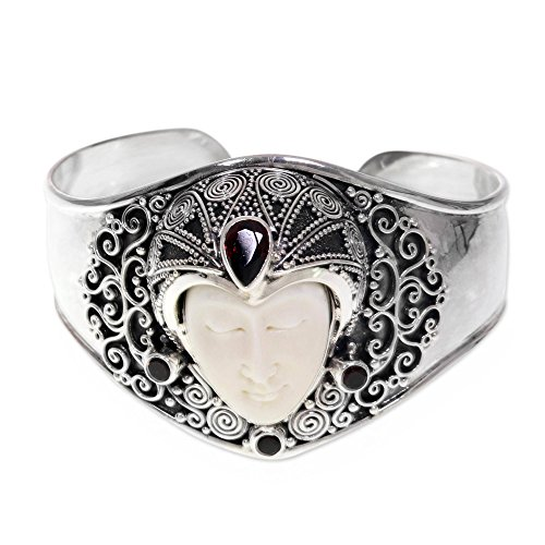 NOVICA Garnet .925 Sterling Silver Cow Bone Cuff Bracelet 'Jungle Princess'