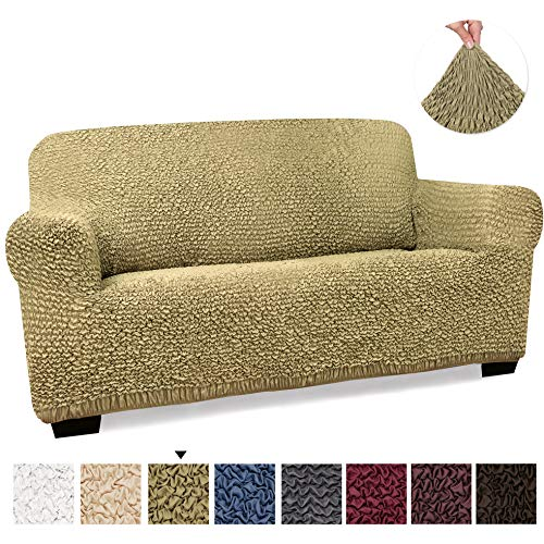 (Loveseat Cover - Loveseat Slipcovers - Loveseat Couch Covers - Soft Polyester Fabric Slipcovers - 1-piece Form Fit Stretch Stylish Furniture Cover - Microfibra Collection - Camel)
