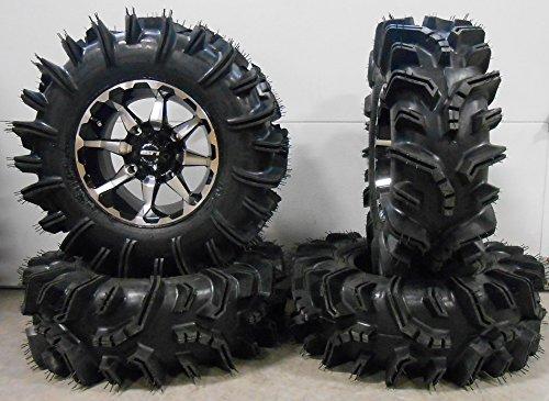 """Bundle - 9 Items: STI HD6 14"""" Wheels Machined 29.5"""" Terminator Tires [4x137 Bolt Pattern 10mmx1.25 Lug Kit]"""