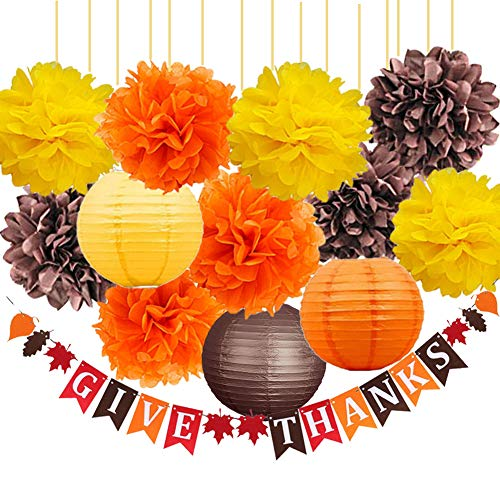 Thanksgiving Party Decorations Kit-Happy Thanksgiving Banner with Tissue Pom Poms Flowers Paper Lanterns Yellow Orange Pumpkin Brown Color Mix Decor Package for Autumn Decorations Fall Party Supplies -