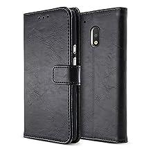 BELK Motorola Moto G4 Play Case, Retro Vintage Leather Wallet Case for Motorola Moto G4 Play, Classical Manetical Snap Folio Flip Card Cover for Moto G 4th Gen (5 Inch), Matte Black