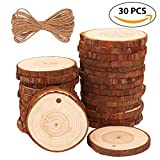 Fuyit Natural Wood Slices 30 Pcs 2.4'-2.8' Drilled Hole Unfinished Log Wooden Circles for DIY Crafts Wedding Decorations Christmas Ornaments with Free Gifts