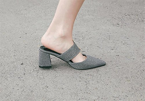 Size Shoes Woman Slip on Plus MOREMOO Slippers Slides Mules Purple Pointed Shoes Women Toe S7xEq
