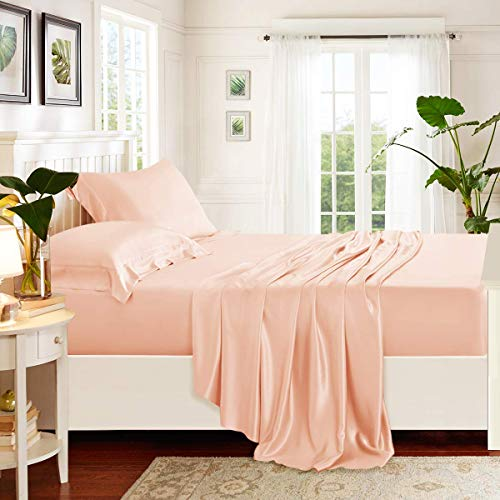 (Zorifi Craft (4 Piece) Bed Sheet Set 100% Cotton 650 Thread Count Luxurious Sateen Weave Soft Quality Sheets (Peach Full-XXL Solid) Sheets fit Upto 16
