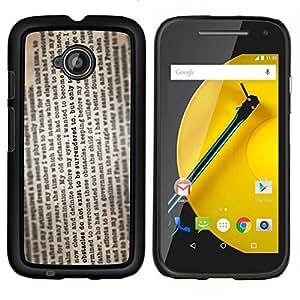 Caucho caso de Shell duro de la cubierta de accesorios de protección BY RAYDREAMMM - Motorola Moto E2 E2nd Gen - Texto del periódico de la lectura del libro de la vendimia