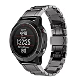 VESNIBA Genuine Stainless Steel Bracelet Quick Release Fit Band Strap For Garmin Fenix 5 GPS Watch (Black)