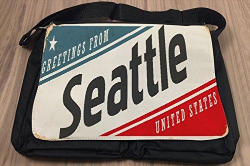 Borsa Tracolla Voglia Viaggiare Città Seattle USA Stampato