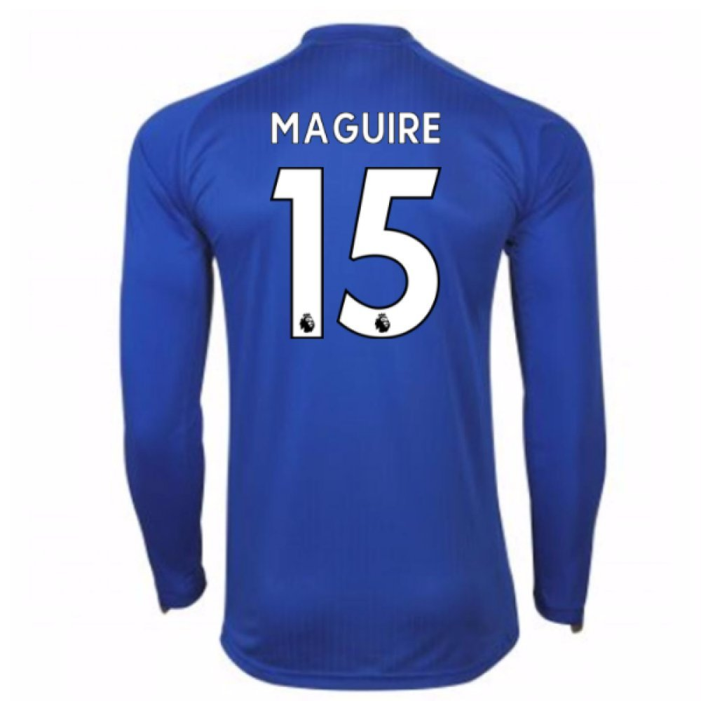 2017-18 Leicester City Home Long Sleeve Shirt (Maguire 15) B077PS18Z6Blue Large Adults