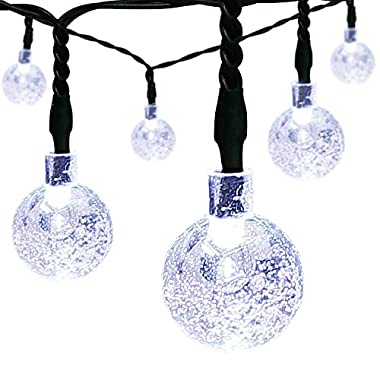 Outdoor Solar Powered String Lights, easyDecor 8Modes 30 LED Balls 21ft White Waterproof Decorative Christmas Fairy Globe Light for Indoor Party,Wedding Decorations,Patio,Garden,Holiday,Tree Decor