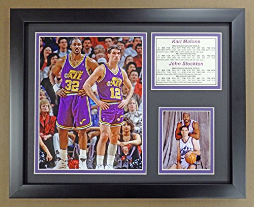 Legends Never Die NBA John Stockton and Karl Malone Utah Jazz Double Matted Photo Frame, 12'' x 15'' by Legends Never Die
