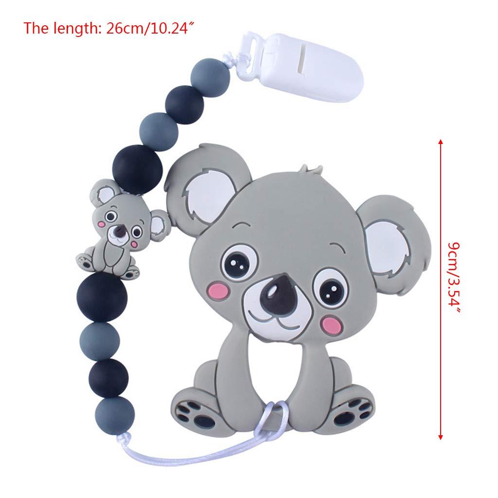 Mayoaoa Niedlichen Lactantes Molares Juguete Cartoon Animal Koala Zahngel Schnullerkette reci/én Nacidos Silicona mordedor Anillo Badegeschenke