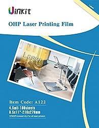 "Ohp Film Overhead Projector Film - 8.5x11"" For Laser Jet Printer & Copier Transparency Film 100 Sheets Uinkit"