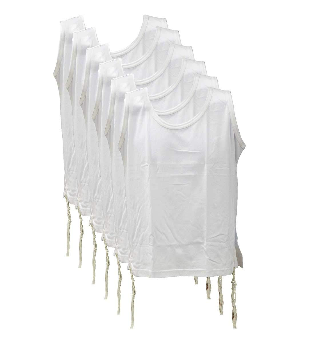 Zion Judaica 100% Cotton Comfortable Quality T-Shirt Tzitzis Garment Certified Kosher Imported from Israel in 4 (4T) 6 Pack White