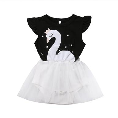 53e17e75e23d Amazon.com  Fiomva Newborn Baby Girl Swan Print Ruffle Sleeve Romper ...