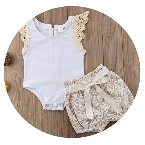 (Baby Girls White Bodysuit Tops Shorts 2PCS Outfits Princess Girls Clothing,as The Photo)