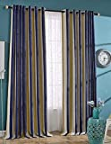 Nibesser Luxury Thickening Chenille Stripe 95% Blackout Curtains Drapes for Bedroom Thermal Insulated Grommet,1 Panel (52W x 63L Inch, Deep blue) For Sale