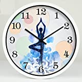 GuoEY Yoga Studio Weight-loss Practice Room Meditation Decoration Art Wall Clock Mute Hanging Table White, Size : M