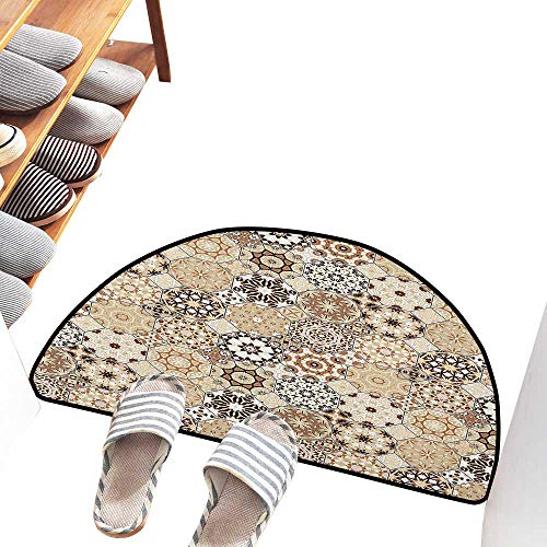 Axbkl Interesting Doormat Eastern Octagonal and Square Ornaments Retro Colored Old Fashioned Tile Easy to Clean Carpet W30 xL18 Beige Dark Brown Pale Brown