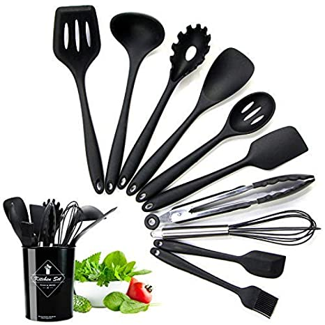 Bon Silicone Kitchen Utensil Set For Non Stick Cookware With Plastic Holder,11  Piece Heat