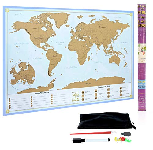 XL Scratch Off Map of The World – Bucket List Features | Wonders of The World | Detailed US States & International Cities | Excellent Wanderlust Themed Travel Gift by Olahs Pandora