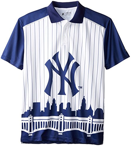 KLEW MLB New York Yankees Polyester Short Sleeve Thematic Polo Shirt, Blue, Large - Nfl Team Logo Polo Shirt
