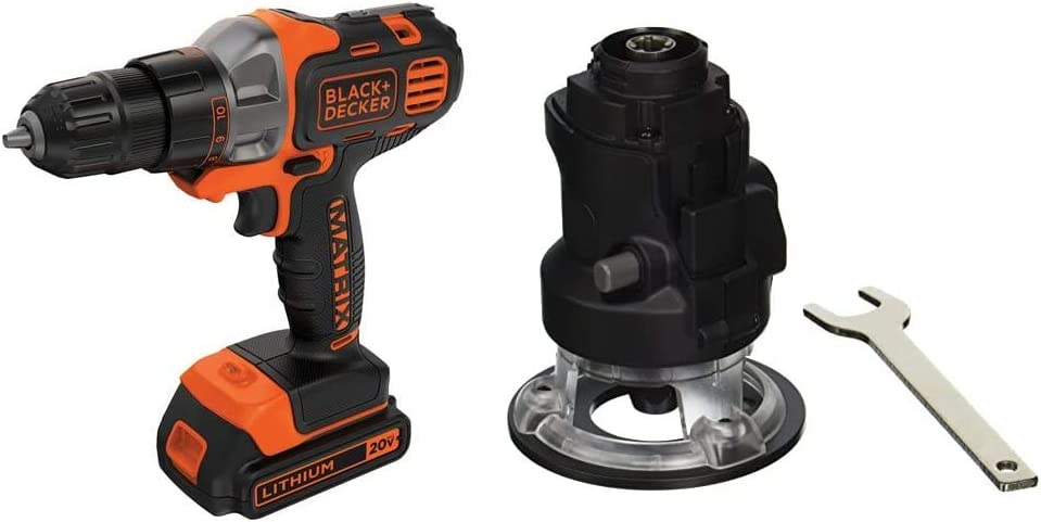 BLACK+DECKER 20V MAX Matrix Cordless Drill/Driver with Router Attachment (BDCDMT120C & BDCMTR)