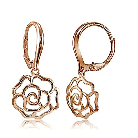 Rose Gold Flashed Sterling Silver High Polished Open Rose Dangle Leverback Earrings - Open Loop Earrings