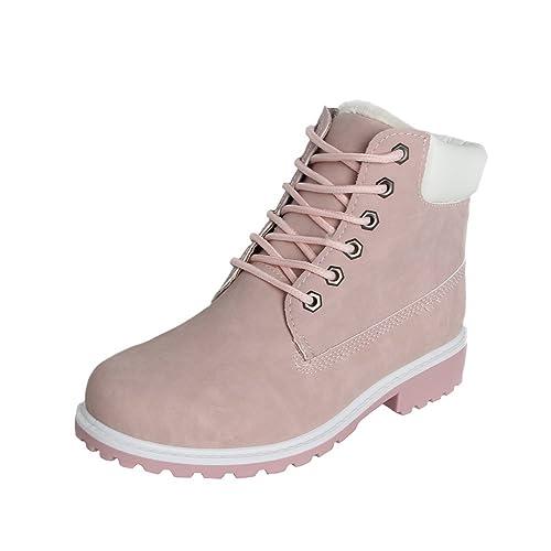61124620024227 Damen Worker Boots Plüsch mit Gefütterte Winterstiefel warme Stiefel Schöne  Prinzessin Rosa