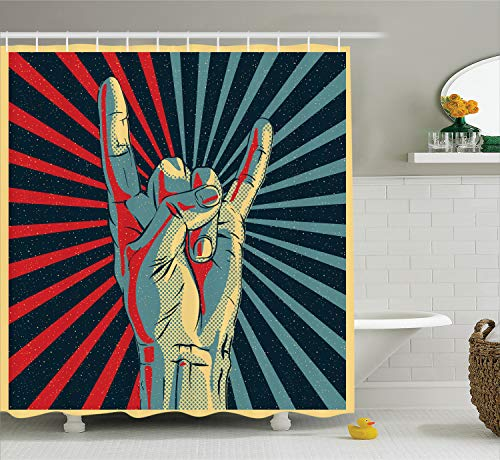 Ambesonne Music Shower Curtain, Hand in Heavy Rocker Sign Musical Universal Gesturing Thunder Bolts Party People, Fabric Bathroom Decor Set with Hooks, 70 Inches, Red Navy