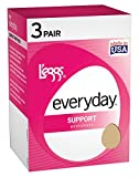 Legg's Control Top Support Panty Hose 3 Pair Pack, Nude, Size – A