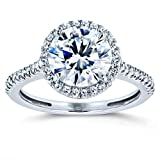 Round Brilliant Forever One Moissanite and Diamond Halo Engagement Ring 2 1/6 CTW 14k White Gold (DEF/VS, GH/I), 5.5