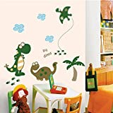 Happy Dinosaurs Coconut Tree Wall Decal Home Sticker Paper Removable Living Dinning Room Bedroom Kitchen Art Picture Murals DIY Stick Girls Boys kids Nursery Baby Playroom Decoration
