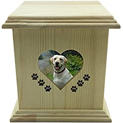 YSF Handmade really wood Wooden Pet dog cat Urns Photo Pet Memorial Urn Casket For Ashes Medium SIZE Box.