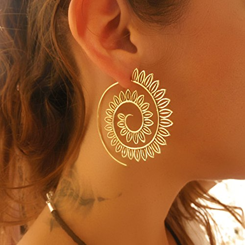 Brass Earrings - Brass Spiral Earrings - Gypsy Earrings - Tribal Earrings - Ethnic Earrings - Indian Earrings - Statement Earrings (EB45)