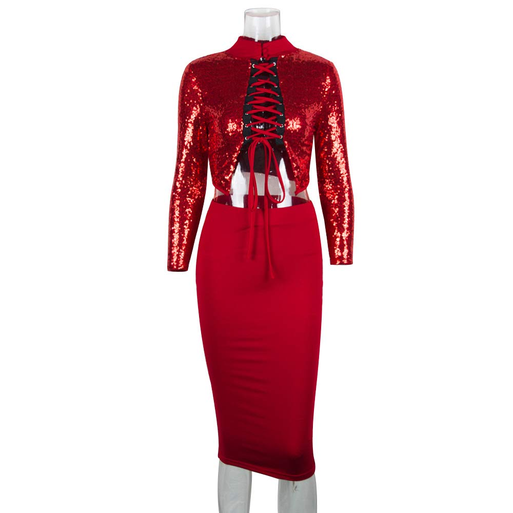 695e3f4e Women Long Sleeve Sexy Red Sequin Split Bodycon Clubwear Party Midi Dress  at Amazon Women's Clothing store: