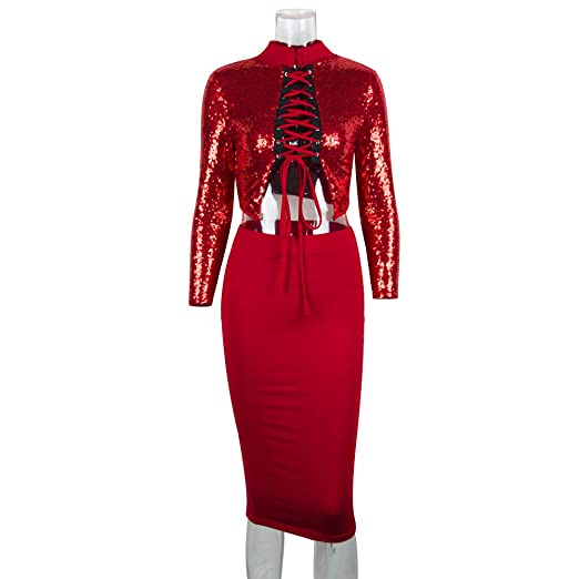 c89a1cad Red Hologram Women's Two Ways Sequin Bodycon Two-Piece Suit Party Dress ...