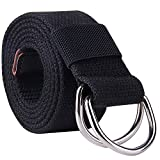 kids d ring belt - ROFIFY Mens Canvas Web Belt Vegan Nylon Military D-ring Metal Buckle for Men Heavy Duty Work Belts Solid Color BLACK 140cm